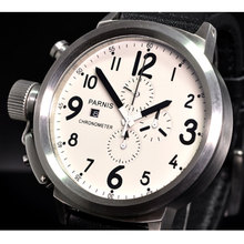 лучшая цена 50mm PARNIS White dial Date Steel Case Chronograph Quartz movement men's Watch