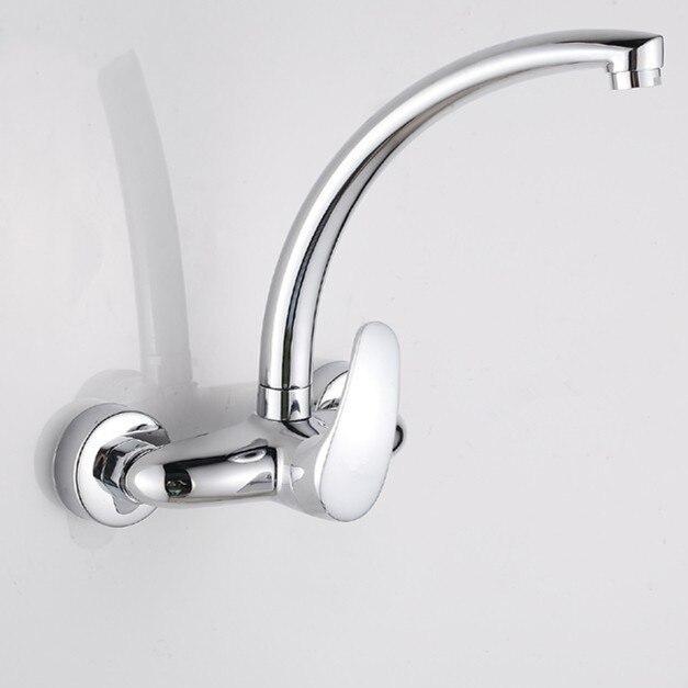 Livraison gratuite robinet d'évier de cuisine en cuivre complet par robinet d'eau en laiton massif de robinets de cuisine à double poignée