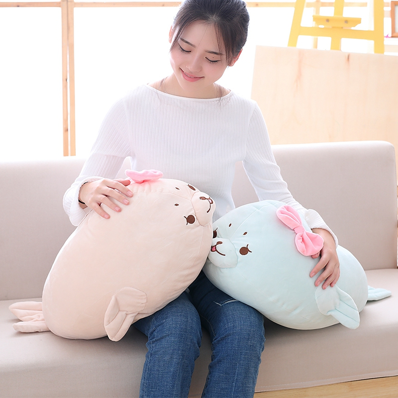 Cute Cartoon Seal Plush Toy Sea Marine Animals Seal Pillow Soft Throw Pillow Baby Kids Toys Soft Bed Decor 45/60/80cm lovely panda in pink dress big 90cm plush toy panda doll soft throw pillow proposal birthday gift x030
