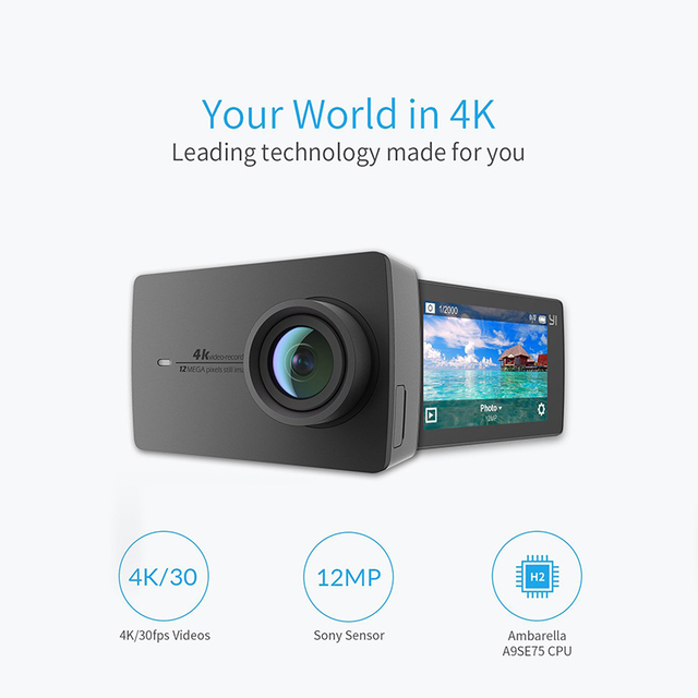 "YI 4K Action Camera International Version Edition Ambarella A9SE Sports Mini Camera ARM 12MP CMOS 2.19"" 155 Degree EIS LDC WIFI 1"
