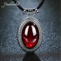 JIASHUNTAI Retro 100% 925 Silver Sterling Big Pendant Necklace Chalcedony Garne Gemstone With Silver Jewelry For Women
