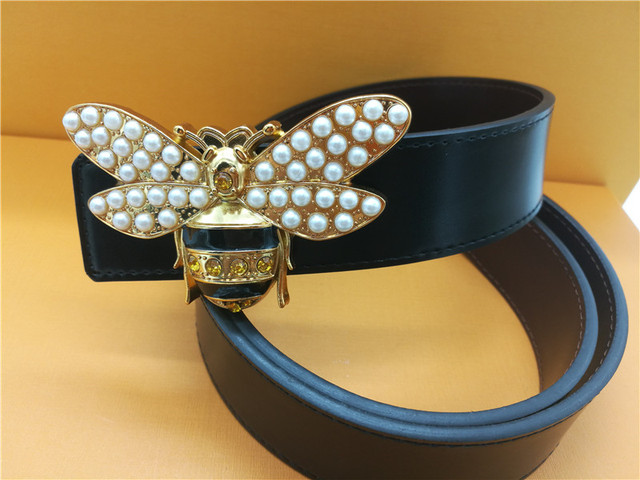 2018 men's luxury designer bee buckle belt ladies high quality alloy belt pearl buckle belt G belt jeans dress 3.8CM wide