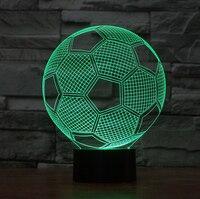 2016 Hot! НОВЫЙ 7 изменение цвета 3D Bulbing Свет футбольный матч зрительных иллюзий СВЕТОДИОДНАЯ лампа k848 фигурку игрушки Рождественский подарок