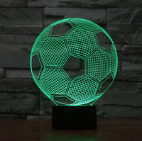 2016 Hot NEW 7color Changing 3D Bulbing Light Football Match Visual Illusion LED Lamp K848 Action
