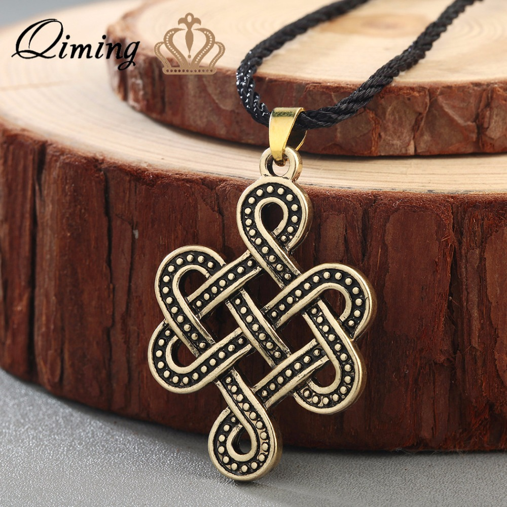 Qiming Celtic Knot Necklace Irish Antique Silver Pendant