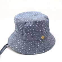 070d7a54 Print Dots Denim Bucket Hat Baby Cowboy Blue Sun Hat Summer Caps With Chin  Strap Kids