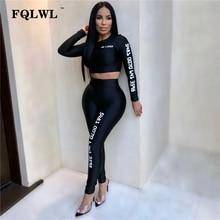 cf61c9d3a9fd1 FQLWL lettre imprimer femmes deux pièces ensembles tenues à manches longues  crop top + pantalon moulant survêtement femmes 2018 .