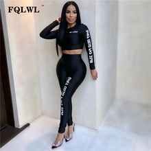 FQLWL Letter Print Women Two Piece Sets Outfits Long Sleeve Crop Top Pencil Pants Tracksuit Women