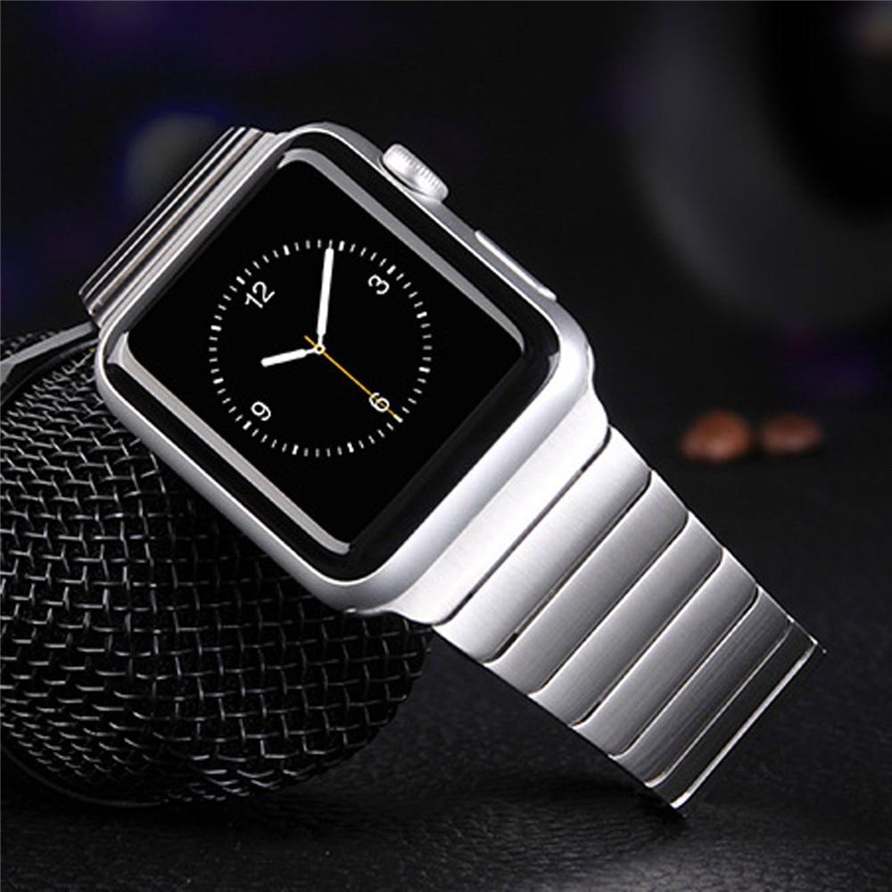 все цены на Rosegold Luxury For Apple Watch Link Bracelet Band 42mm 38mm Black Silver Stainless Steel Original Banda For Iwatch Watchbands онлайн