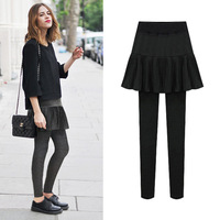 High Waist Leggings With A Line Pleated Skirt + Long Pants Women Winter Fleece Warm Black Leggings Female Plus Size 5XL 6XL