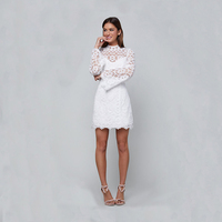 Summer White Lace Dress Women A Line Dress Elegant Flare Sleeve Mini Dresses Celebrity Party Cocktail Bodycon Vestidos