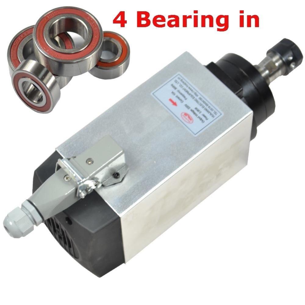 CNC spindle 3KW 18000RPM air cooled SPINDLE MOTOR er20 collet for cnc milling machine 3kw air cooled spindle engraving machine spindle motor 3kw 4pcs ceramic bearings