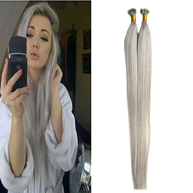 Silver Grey Hair Extensions Brazilian Straight Hair Style Pre Bonded