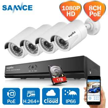 SANNCE 8CH HD 1080P POE Network Video Security Surveillance System 1TB HDD 4PCS 2.0MP IP Camera Waterproof NVR CCTV Kits - DISCOUNT ITEM  24% OFF All Category