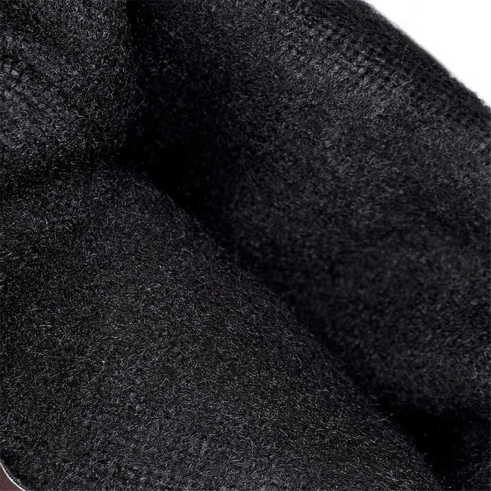 BONJOMARISA Mùa Đông 2019 Plus Size 34-48 Gợi Cảm Qua Đầu Gối bằng Cao Co Giãn Giày Lông Ấm Áp Nữ giày Gót thấp Giày Người Phụ Nữ