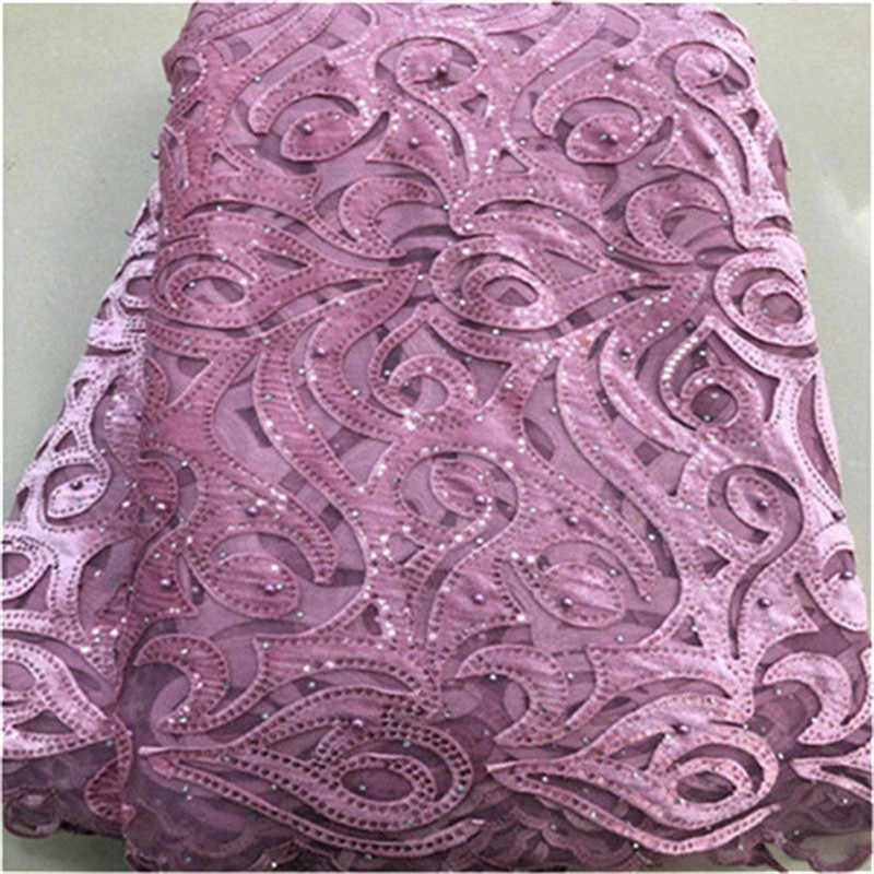 African Lace Fabric 2019 pink High Quality Lace beads sequins French Tulle Lace Fabric With Stones Party African Lace Material