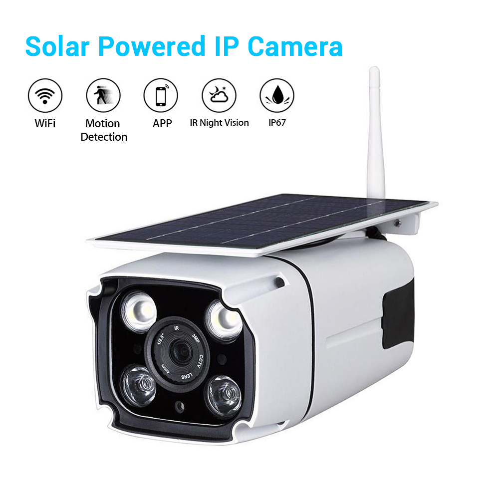 Solar Battery Power IP Camera HD Waterproof WiFi Wireless Outdoor Human Motion Detection Security Camera Night Vision CCTV Cam