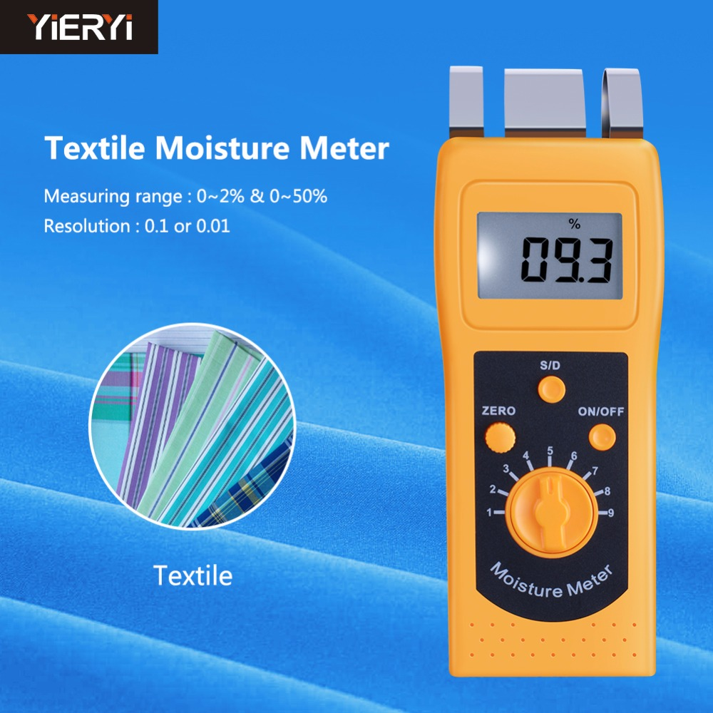 100% New Brand Instrument DM200T High Performance Portable Digital Textile Moisture Meter Humidity Measuring LCD Display dm200t 0 50