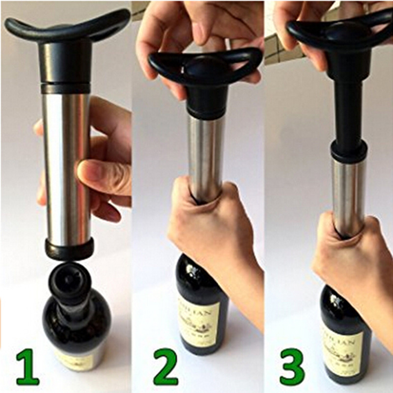 Wine Bottle Stopper Stainless Steel Vacuum Wine Saver Pump With Wine Preserver with 2 Vacuum Bottle Stoppers ZQ884363