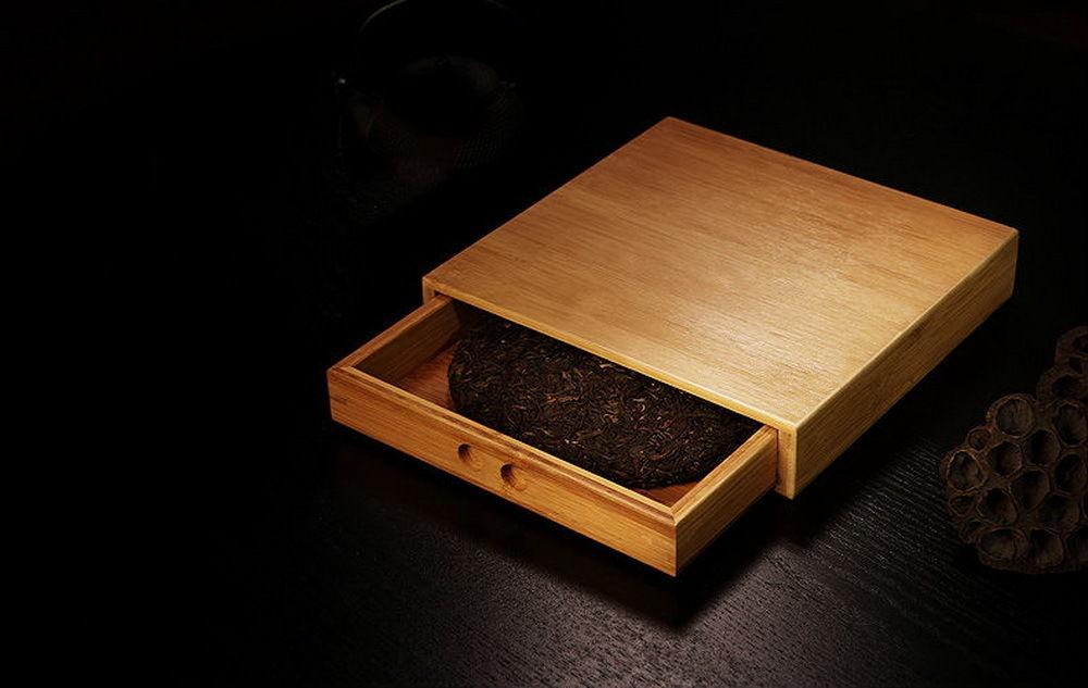 Bambou Pu'er Thé Gâteau boîte de rangement et Inspection de Thé En Vrac Rupture Plateau 25x24 CM