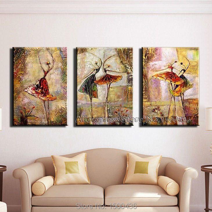 Hand Painted Modern Abstract Oil Dancers Canvas Painting 3 Pieces Home Decoration Large Wall Art Picture Set