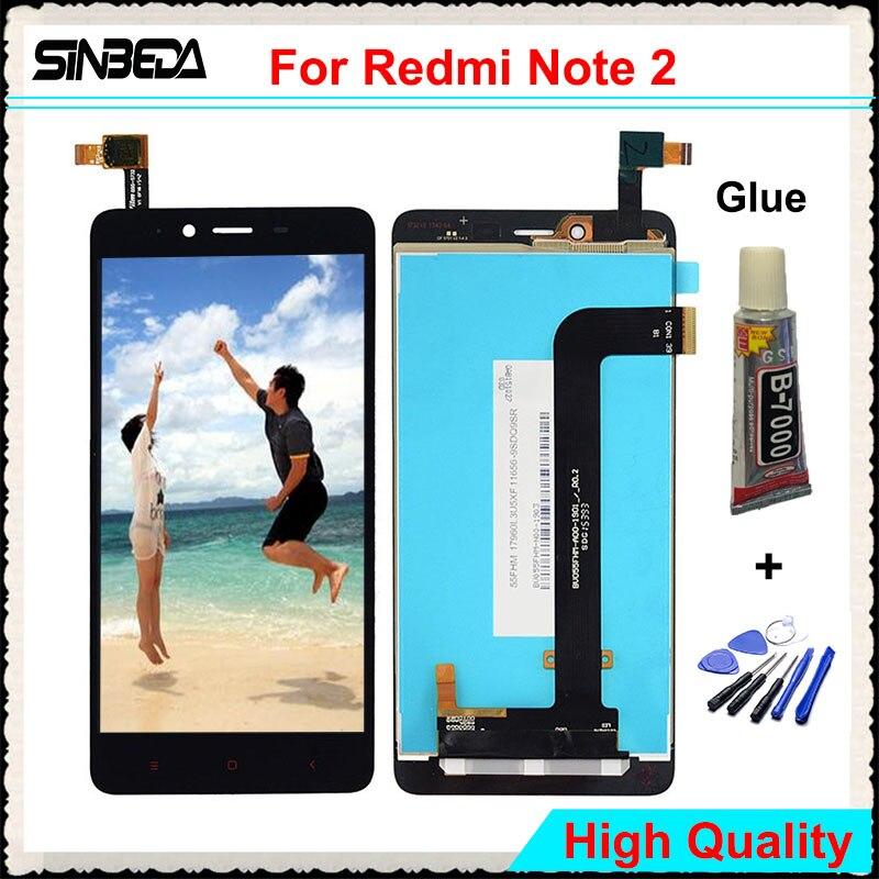 Sinbeda 5.5 d'affichage Pour Xiaomi Redmi Note 2 LCD Écran Tactile Digitizer l'assemblée Pour Redmi Note 2 Pro Premier LCD 1920x1080 + colle