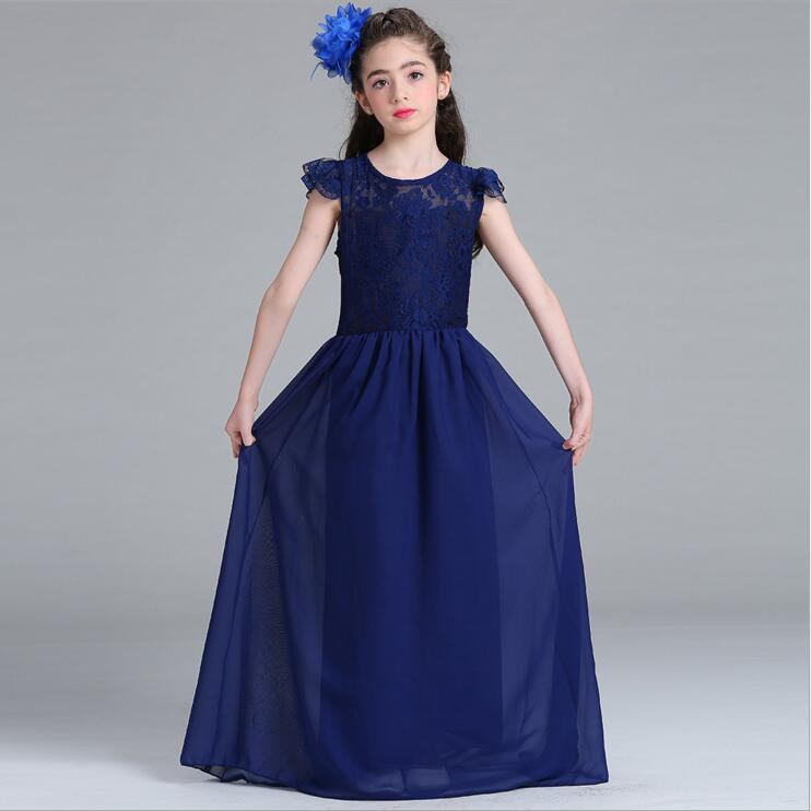 Girls Long Dress Fashion Trend Casual Dress for Girl Beach Tunic Lace Floral Summer Maxi Dress Kids Party Princess Dresses 9-15Y new brand 2017 girls long dress summer fashion beach printing mid calf children casual o neck sleeveless clothes 6 15y kids hot