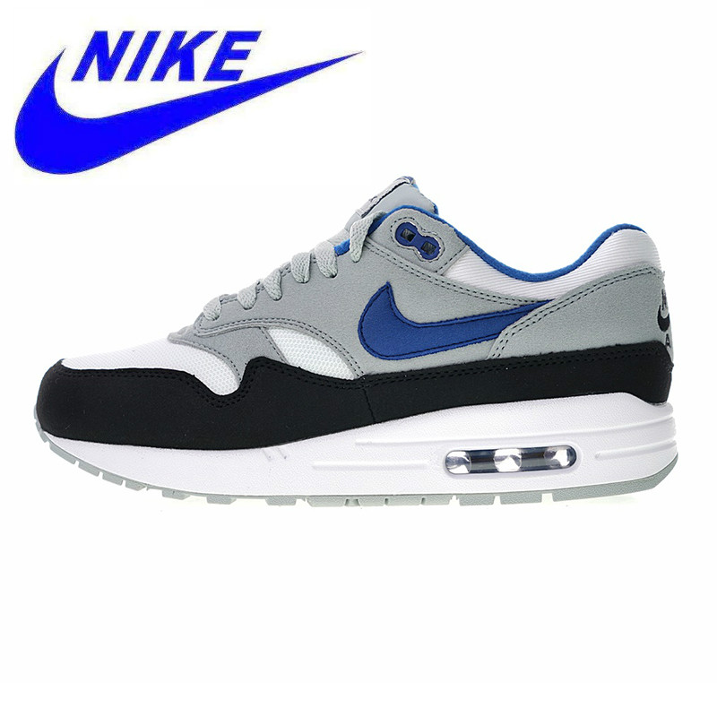 US $91.29 49% OFF|New arrival Nike Air Max 1 Men's Running Shoes , Grey & Blue, Shock Absorption Wear Resistant Breathable Non slip AH8145 102 in