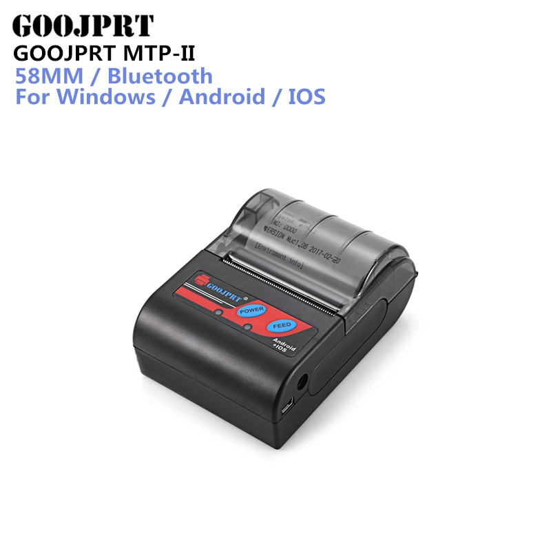 GOOJPRT MTP-II 58mm Portablle Android Bluetooth Thermal Printer Receipt Printer for mobile POS printer bluetooth ticket printer 58mm mini bluetooth printer android thermal printer wireless receipt printer mobile portable small ticket printer