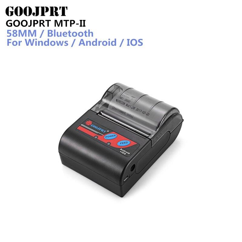 GOOJPRT MTP-II 58mm Portablle Android Bluetooth Imprimante Thermique Réception Imprimante pour mobile POS imprimante bluetooth billet imprimante