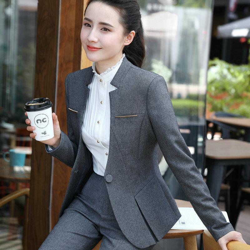 IZICFLY Gray Blazer And Pants Set For Women Uniform Ladies Suit With Trouser Elegant Slim Business Blezer Femenina Office Wear