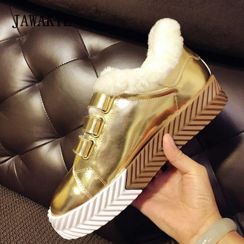 2019 or blanc véritable cuir baskets femmes bout rond laine fourrure antidérapant chaussures femme décontractées