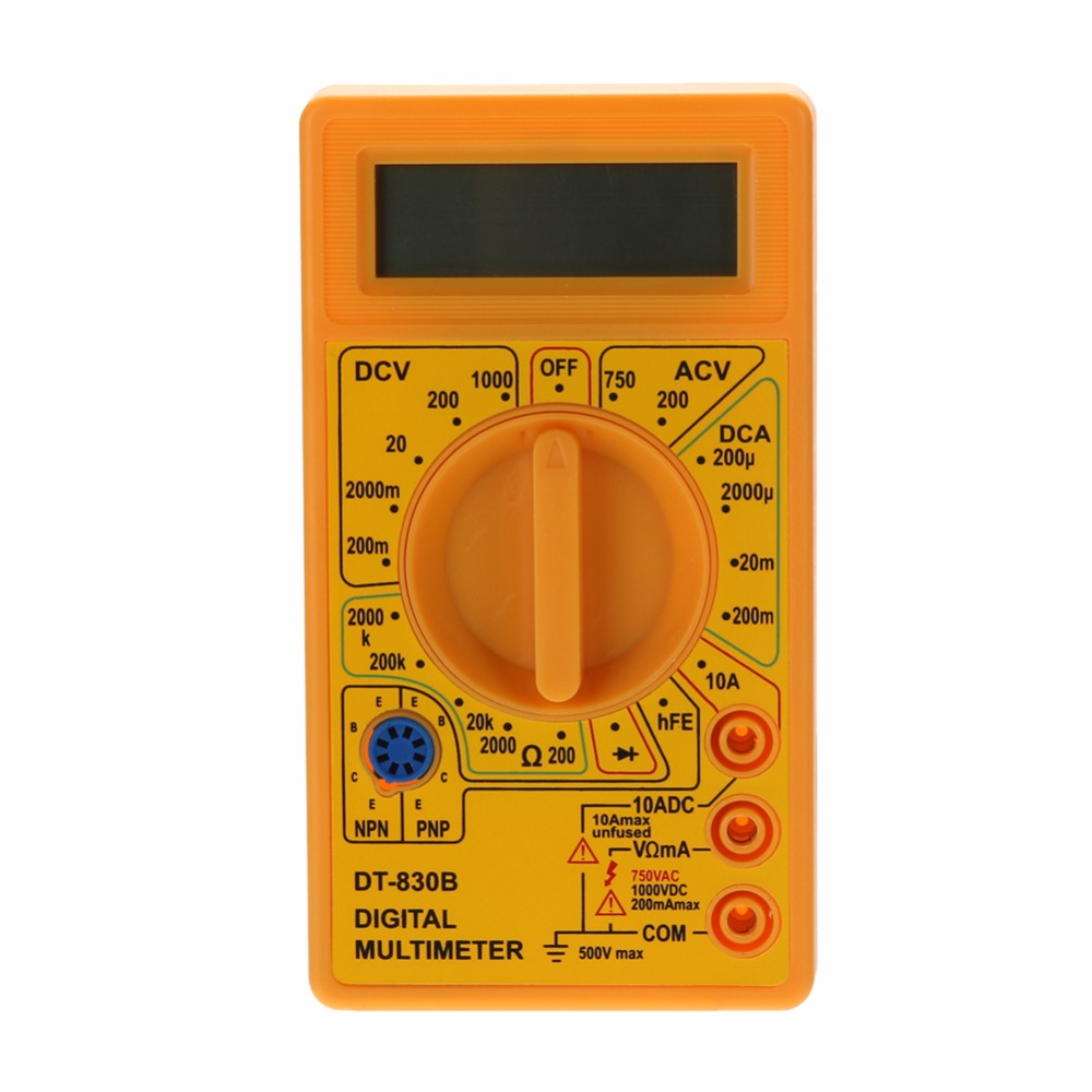 DT-830B LCD Digital Multimeter Tester AC/DC 750/1000V Amp Volt Ohm Meter Digital Multimeter Yellow Black Color dt9205a lcd display multi fuction digital multimeter tester ac dc black