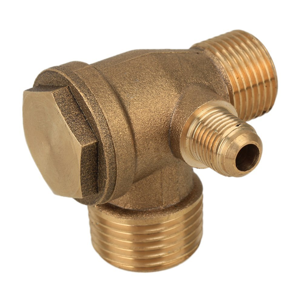 3-Port Brass Male Threaded Check Valve Connector Tool for Air Compressor 0.39 x 0.65 x 0.83 Inch 3 8 check valve with solder connection for bus air conditioner and refrigeration truck replace sporlan check valve