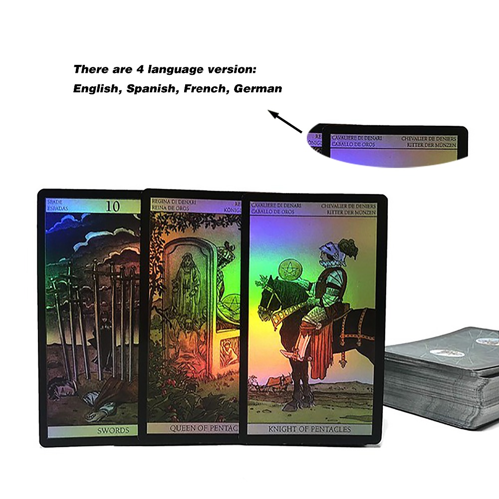 2018 Shine Waite Tarot Board Game Holographic Tarot Cards Game For Women English Spanish French German Version