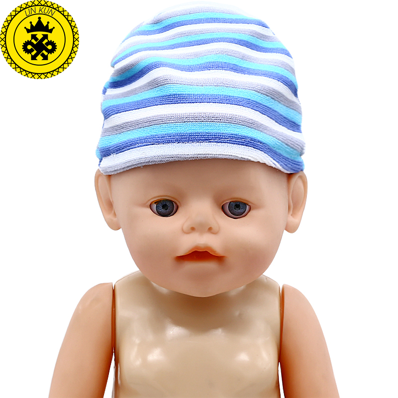 Doll Hat 2 Colors Winter Striped Hat Fit 43cm  Baby Doll And 18 Inch  Girl Doll Accessories 002