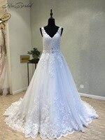 Robe de mariee New Amazing Long Wedding Dress 2018 V neck Sleeveless A Line Court Train Lace Bride Dresses Vestido longo