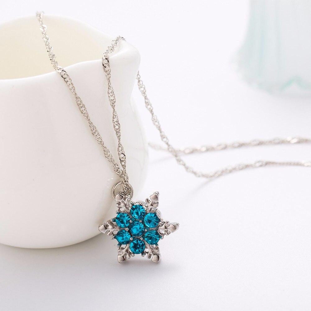 363e57ca4e92 TOMTOSH 2016 Charme Vintage lady Bleu Cristal Flocon De Neige Zircon Fleur Argent  Colliers et Pendentifs Bijoux pour les Femmes Livraison Gratuite