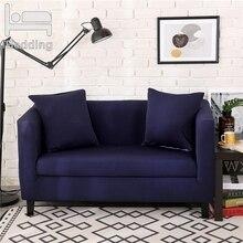 Темно-синие однотонный комплект с эластичной резинкой защита для дивана крышка для Гостиная Чехлы для кресел секционные L Форма Sofacover 1/2/3/4 местный