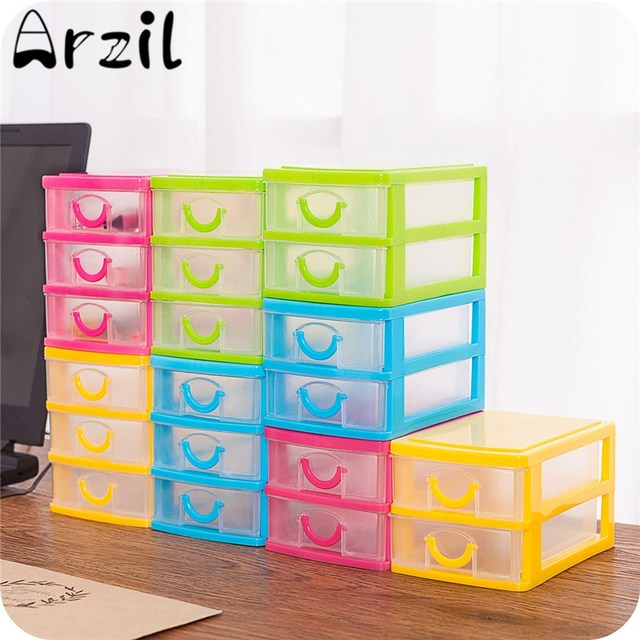 Desktop Plastic Storage Box with Three Drawers Jewelry Organizer