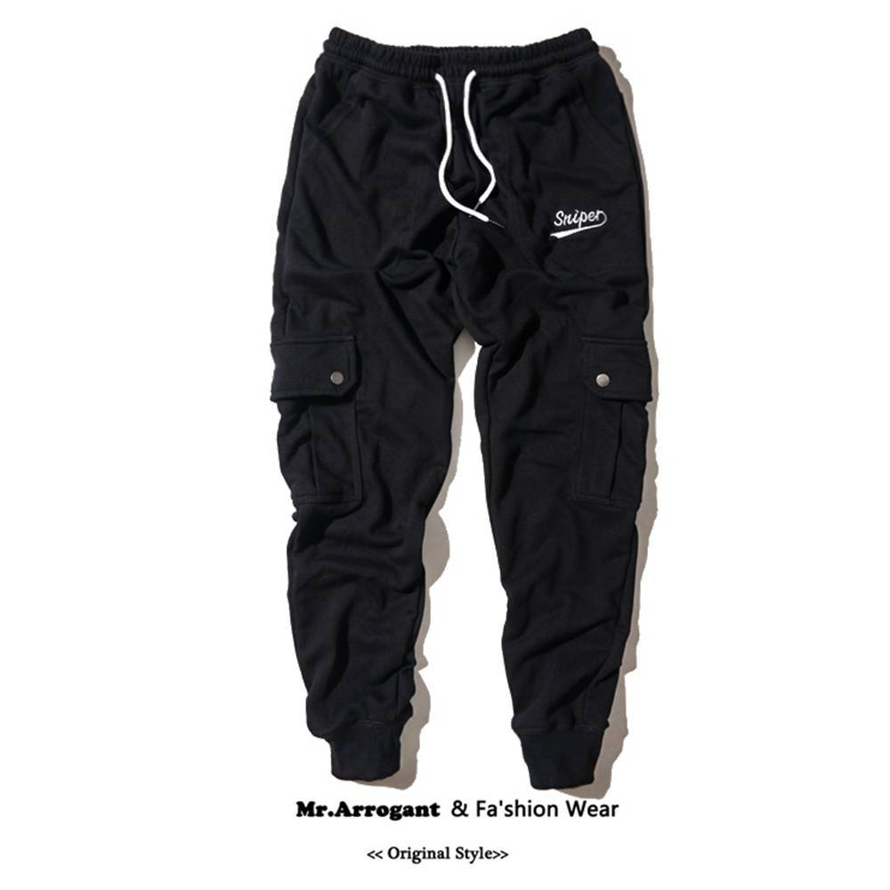 Big Multi-Pocket Mens Pants Solid Black Color Casual Loose Long Pants Letter Printed Male Autumn Spring Trousers