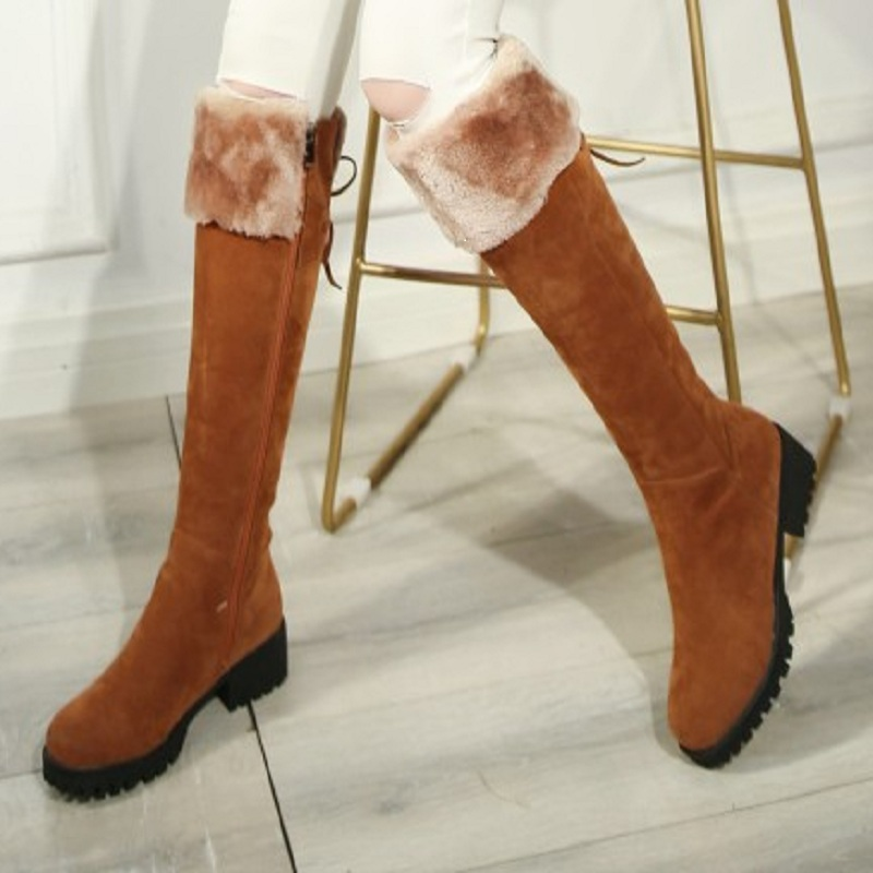 winter boots women snow boots over the knee boots flock high 2017 fashion black autumn shoes woman feather boot for girls &C20-8 women over the knee boots suede thigh high boots 2017 autumn winter ladies fashion fur warm high heel boots snow shoes woman