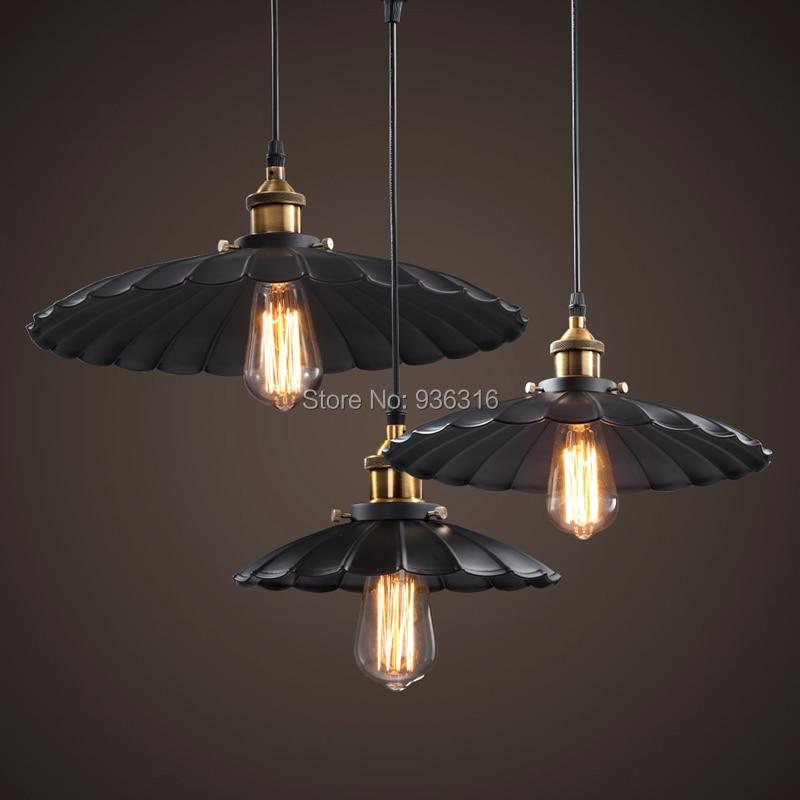 Blueking 1pc Edison Vintage Style Industrial metal pendant lamp bar Restaurant <font><b>LED</b></font> Black Lotus <font><b>Umbrella</b></font> Pendant Light Fixture