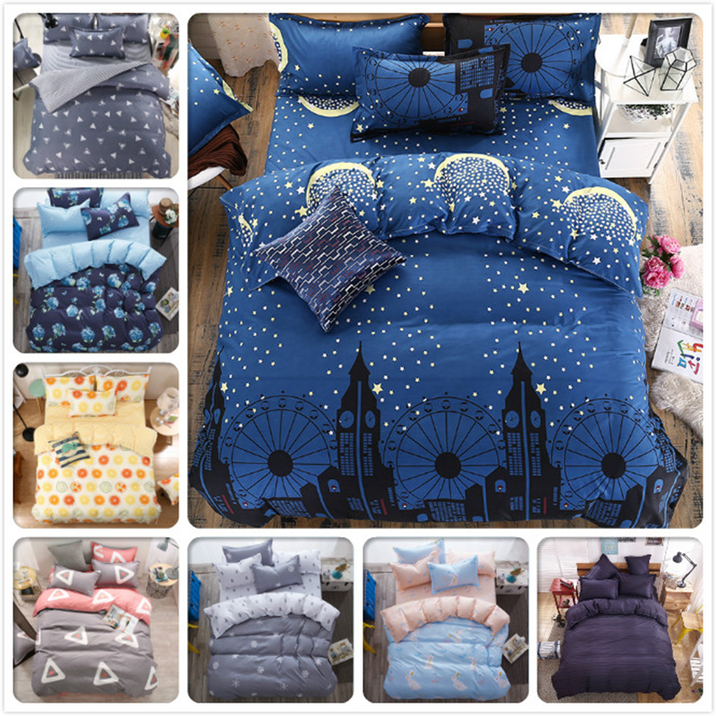 4 pcs Set Bed Flat Sheet Duvet Cover High Quality BedLinen Pillowcase Full King Queen Double Size Bedclothes Coverlet Bedspread