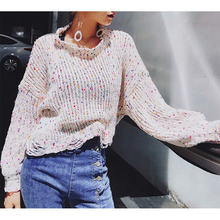 Knit Sweater Women Rainbow Sweaters Ladies Hollow Out Sweaters Women Winter 2019 Loose Pullover Sweater Jumper Woman Sweaters female korean harajuku hong kong flavored loose rainbow stripe sweater women s pullover sweaters