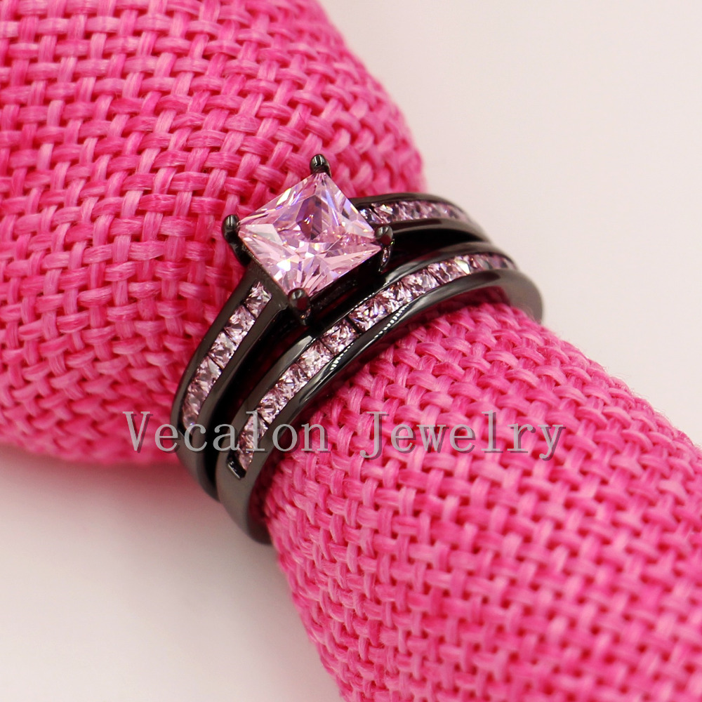 Aliexpress.com : Buy Vecalon Women Wedding Band Ring Set Pink stone ...