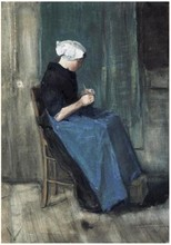 Woman Knitting by Vincent Van Gogh Handpainted