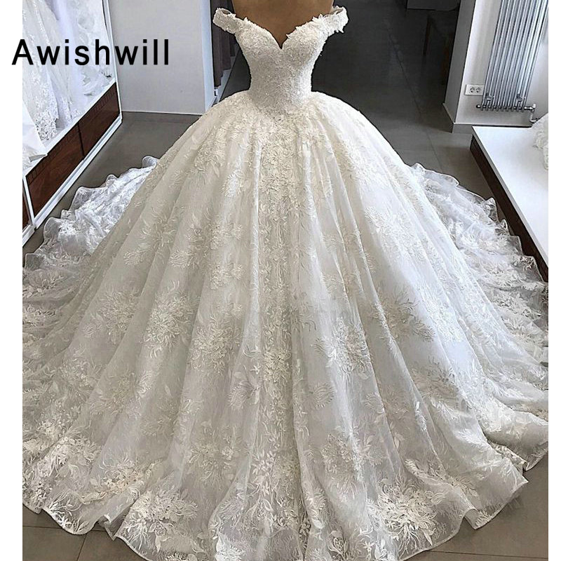Vestido De Noiva Gorgeous Wedding Dresses 2020 Puffy Cap Sleeve Ball Gown Arabic Lace Bridal Wedding Gown Vintage
