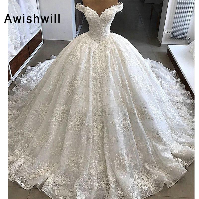 Vestido de Noiva Lindo Casamento Vestidos 2019 Manga Cap vestido de Baile Árabe Puffy Nupcial Do Laço Do Vestido de Casamento Do Vintage