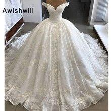 Vestido de Noiva Wunderschöne Hochzeit Kleider 2020 Puffy Cap Sleeve Ballkleid Arabisch Spitze Braut Brautkleid Prinzessin